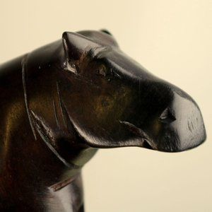 Unknown Accents - Vintage Hippopotamus Wood Carving Carved Figure